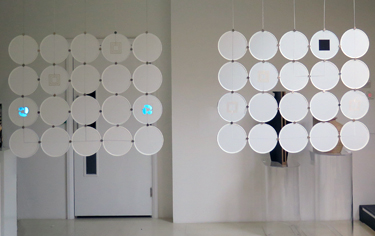 Diffus Blind modular designs with EL lamps, speakers, proximity sensors and thermochromic colour change discs